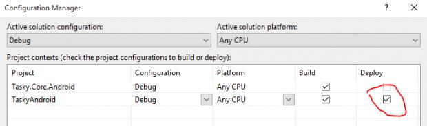 Xamarin Configuration Manager