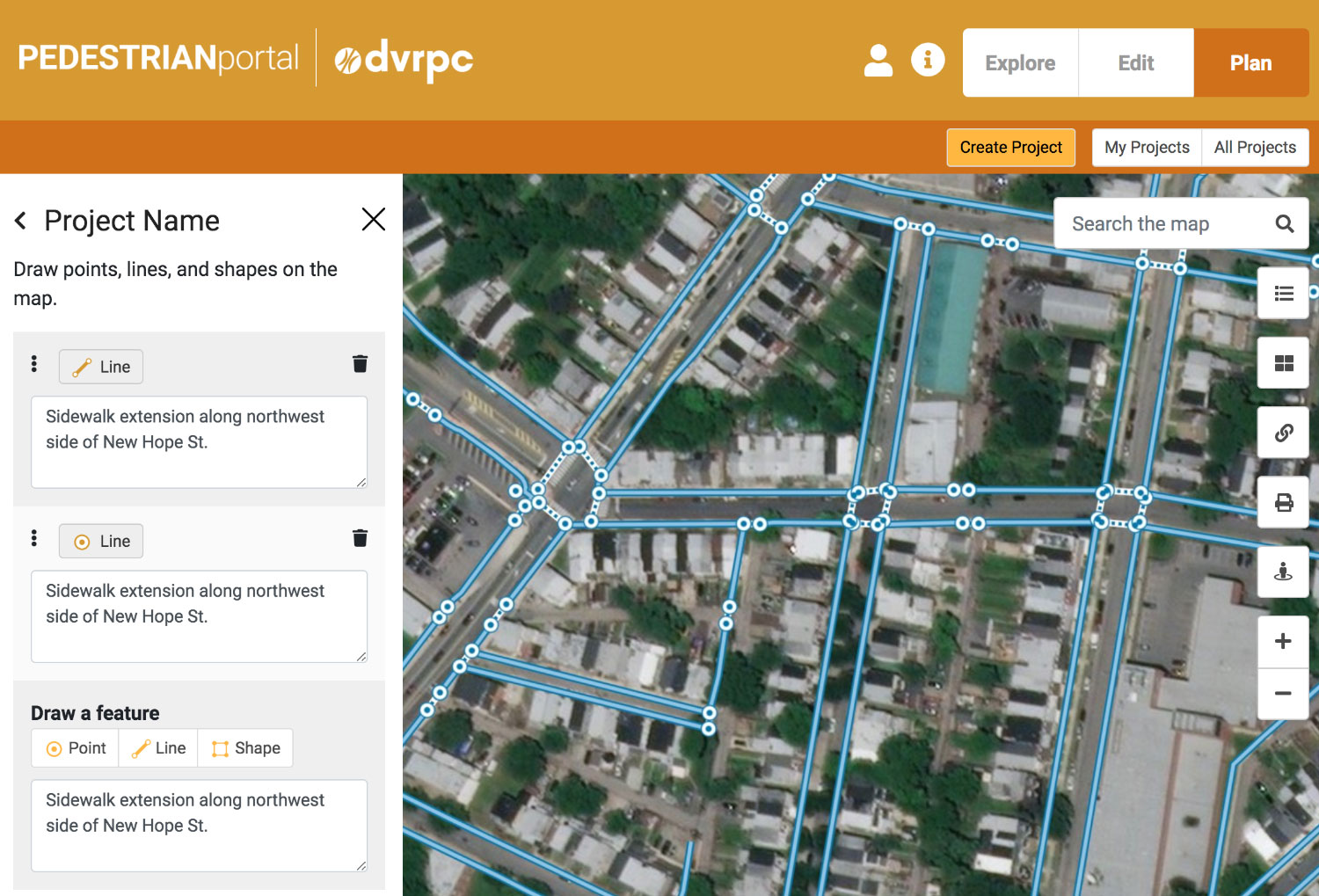 Pedestrian Planning Portal by Tierra Plan