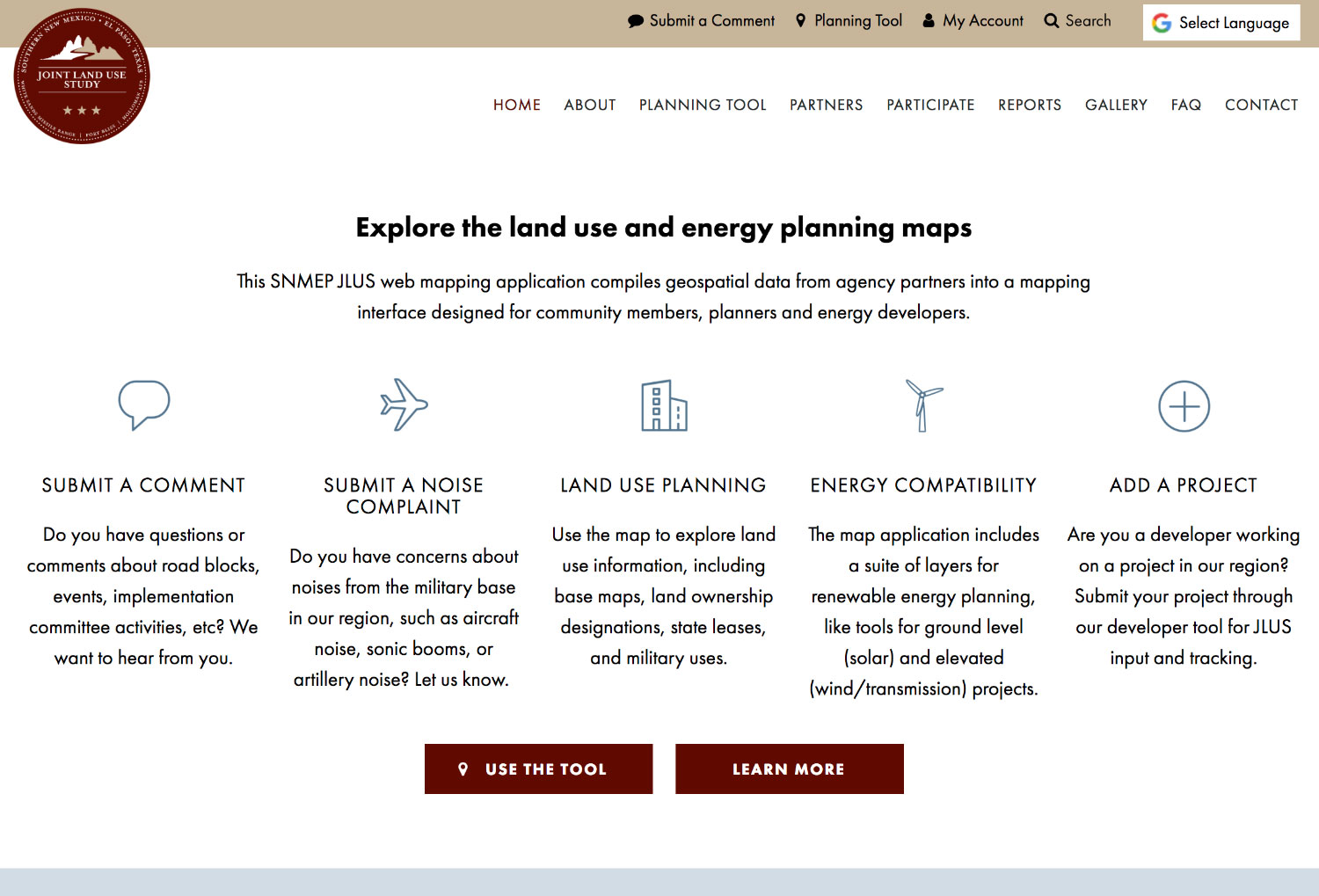 JLUS Website and Mapping Tools by Tierra Plan